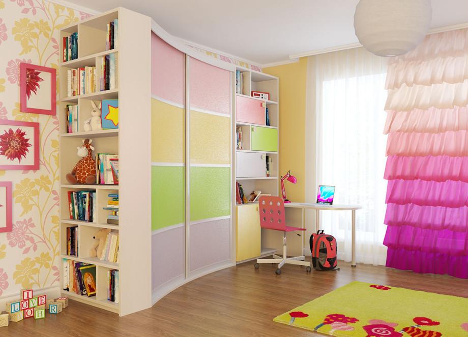 Радиусный шкаф для девочки