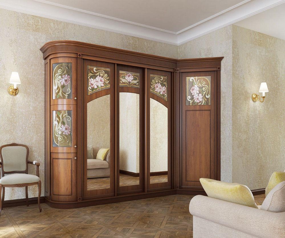 Выбор углового шкафа-купе с зеркалом в гостиную и спальню: размеры, материалы, фурнитура и наполнение