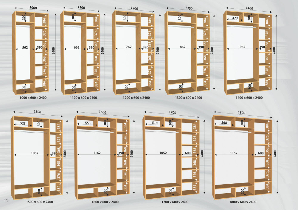 Примеры стандартов шкафа-купе
