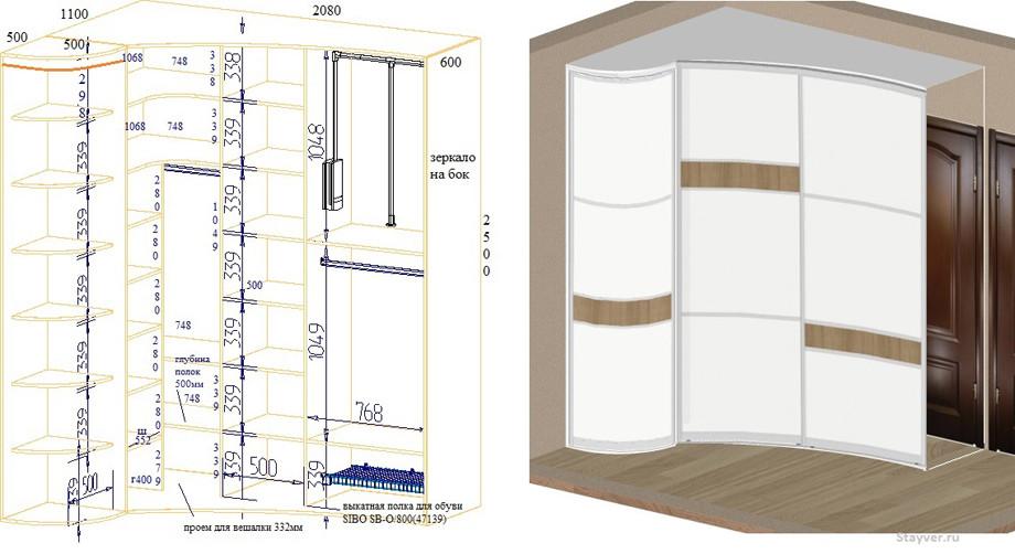 Как выбрать угловой шкаф купе: виды, дизайн, идеи