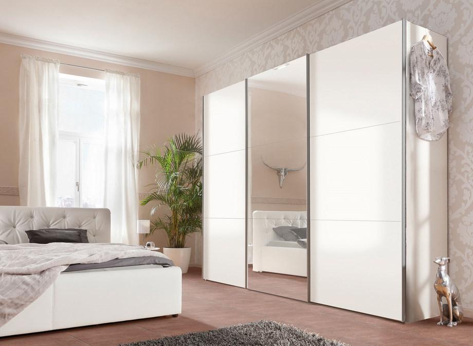 белый шкаф купе глянец с зеркалом классика в спальне