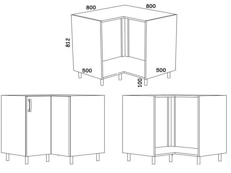 Какие бывают угловые кухонные шкафы: виды и чертежи с размерами