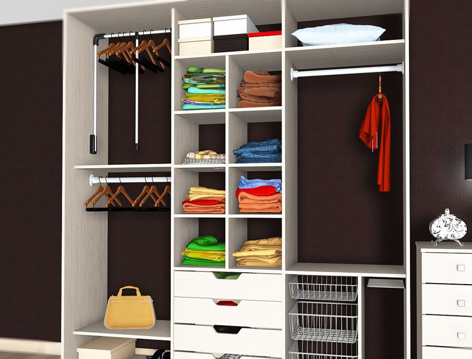 Наполнение для встроенных шкафов и гардеробных: чертежи с размерами