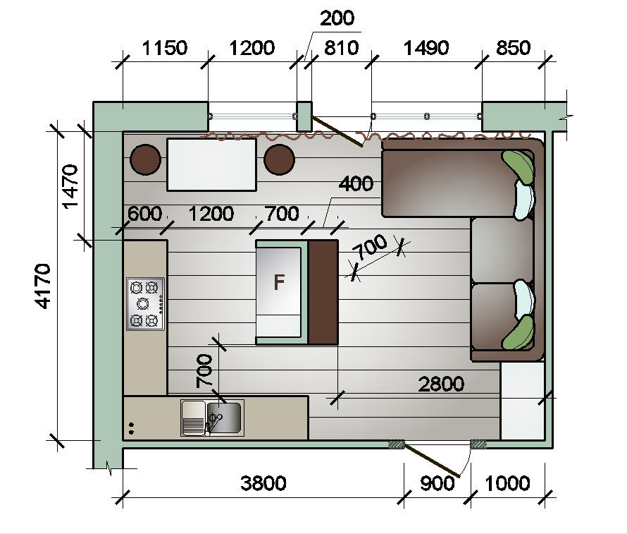 размеры гостиной