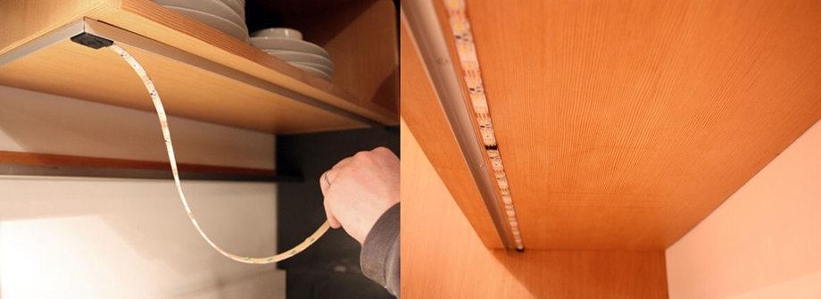 Как произвести монтаж светодиодной ленты на кухне под шкафами?