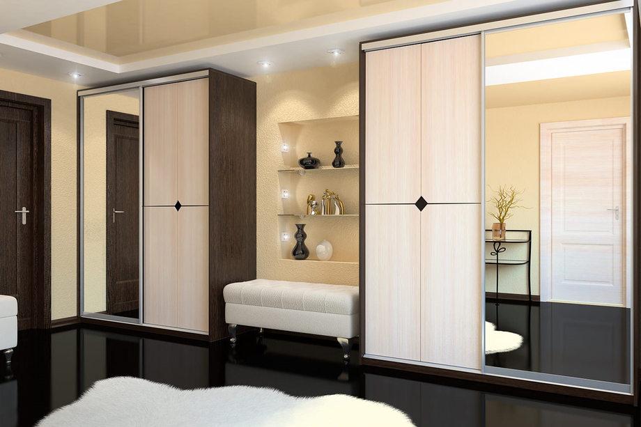 Широкий двухсекционный шкаф в прихожку