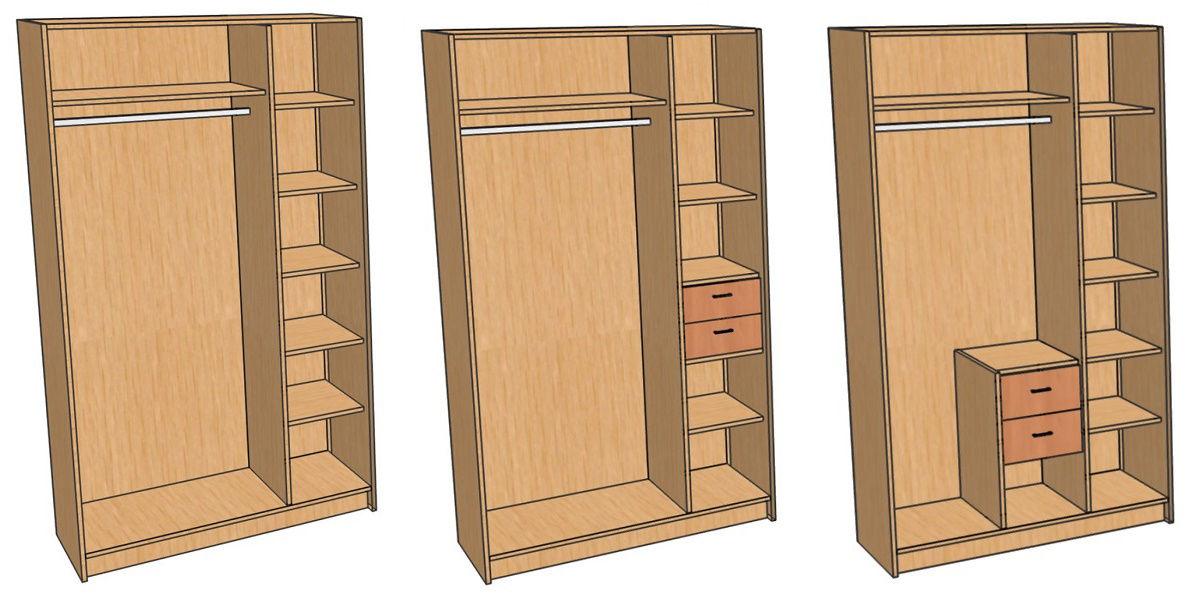 Расположение ящиков в шкафу