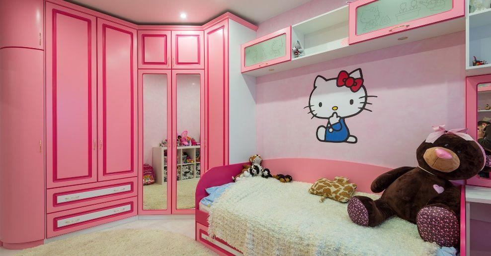 Розовый угловой гардероб