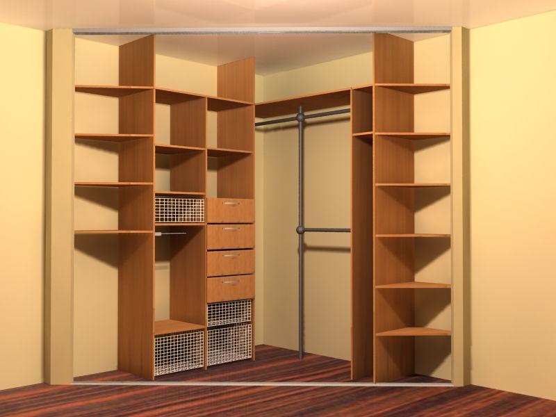 Встроенный шкаф в спальне без учёта дверей