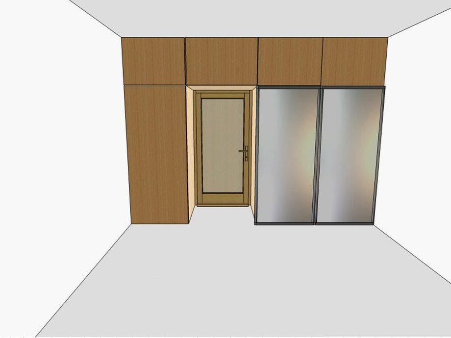 Шкаф-купе вокруг дверного проёма с антресолями: варианты дизайна
