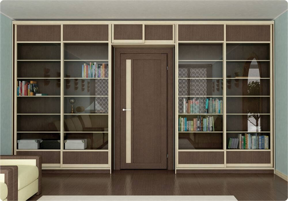 Стильный шкаф вокруг двери