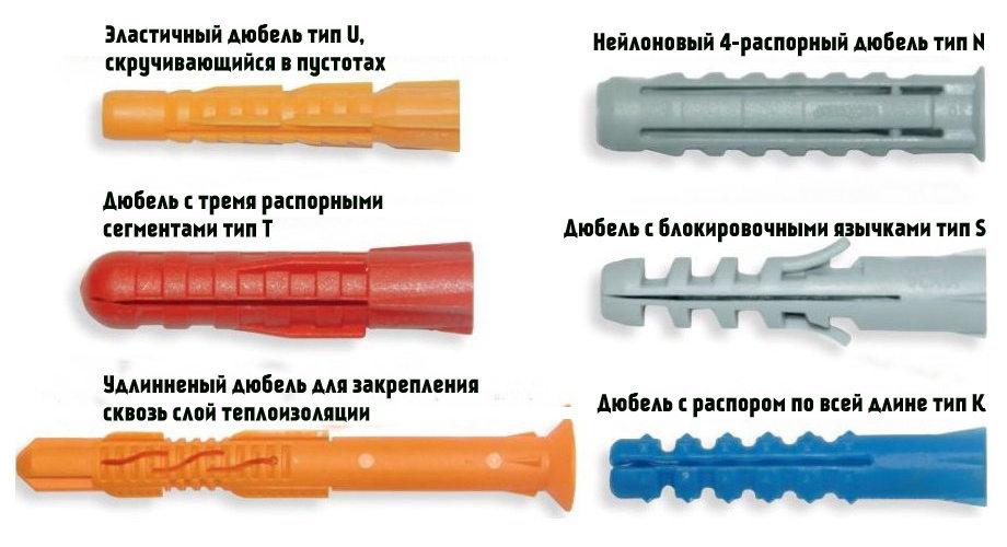 Разновидности пластиковых дюбелей