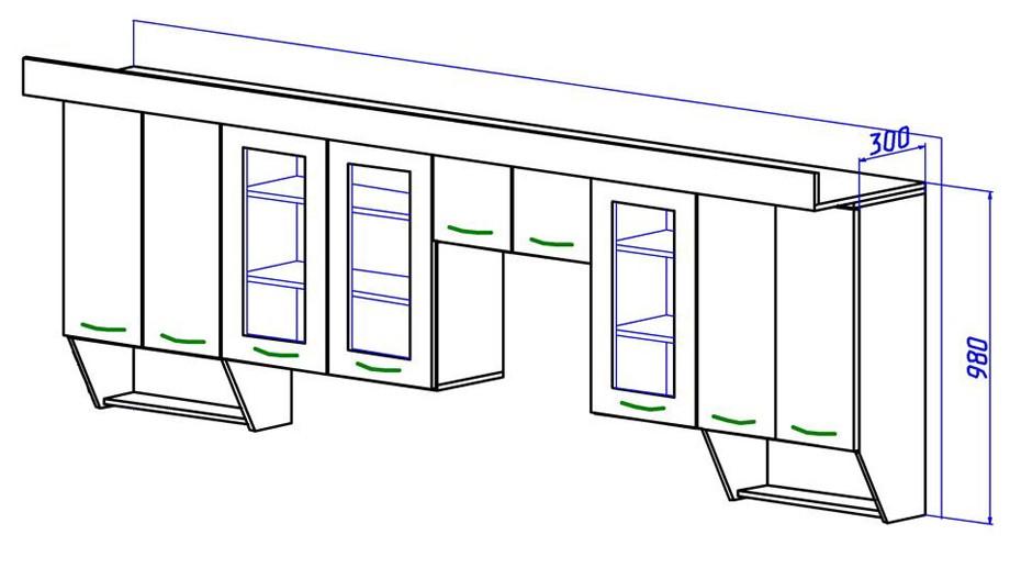 Стандартная глубина верхних кухонных шкафов: 30, 40 и 50 см