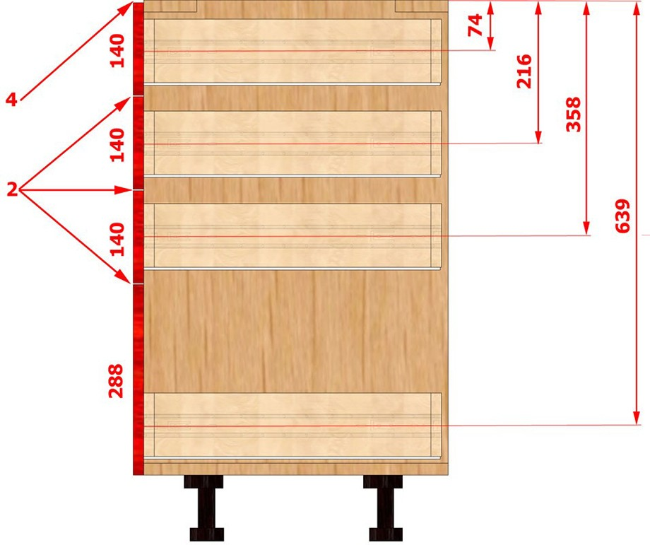 Стандартная высота нижних кухонных шкафов: готовые и заказные модули