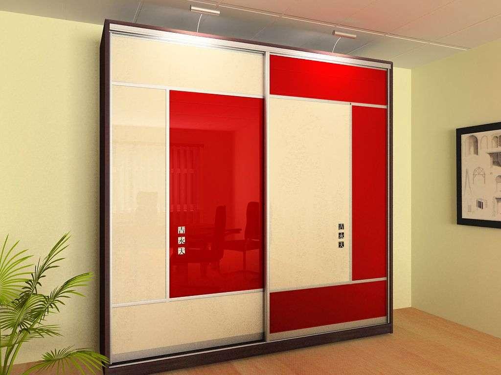 Красно белый шкаф с раздвижными фасадами