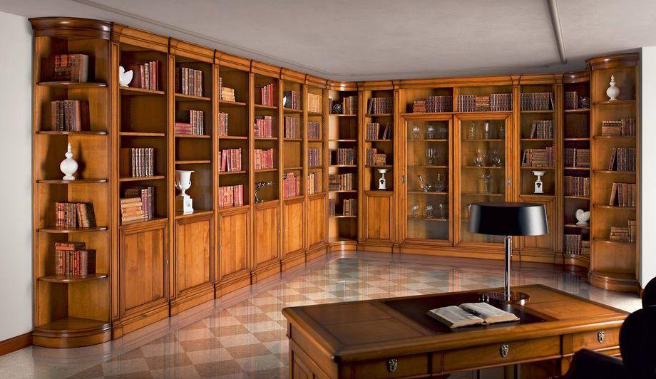 Большой угловой шкаф для книг