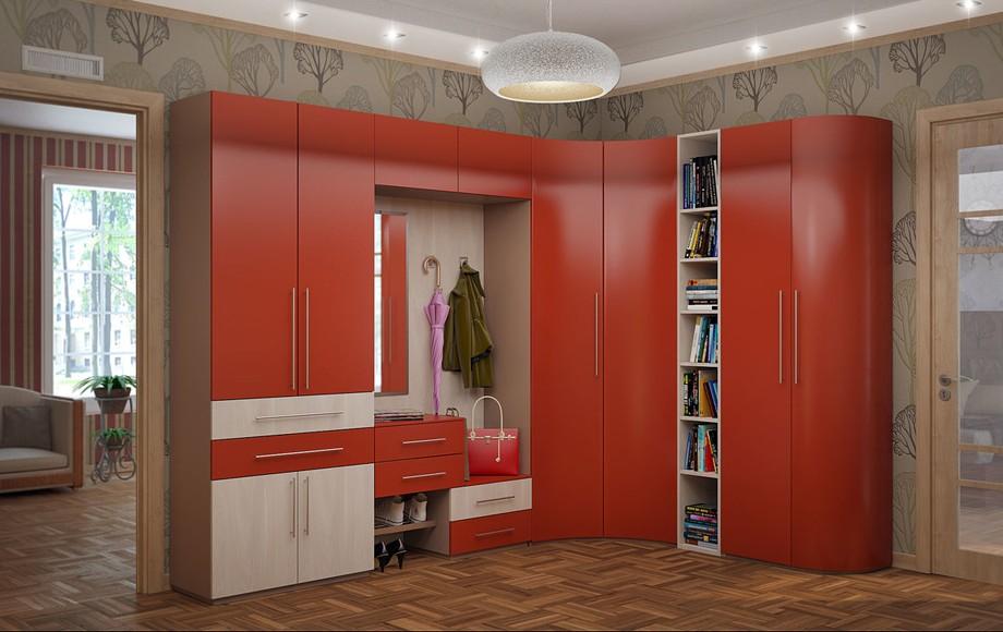 Мебель в прихожей красного цвета