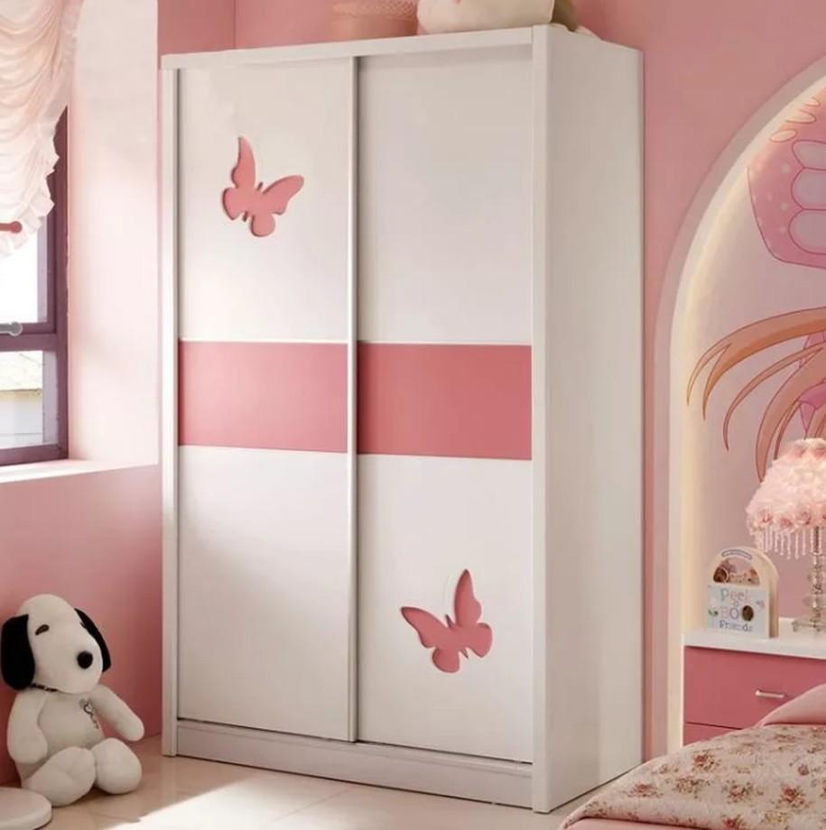 Бело-розовый двухдверный шкаф-купе