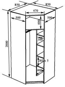 Схема углового шкафа 850
