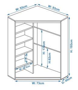 Схема углового шкафа со стороной 930