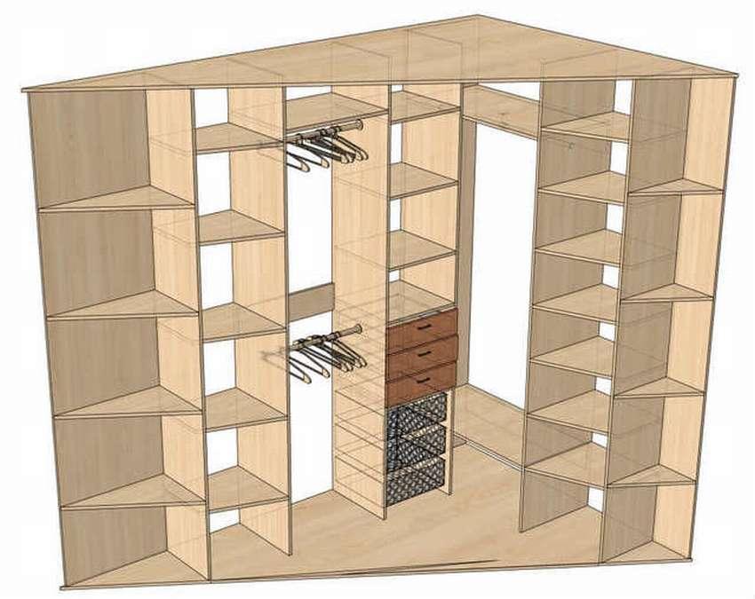 Диагональный шкаф внутри