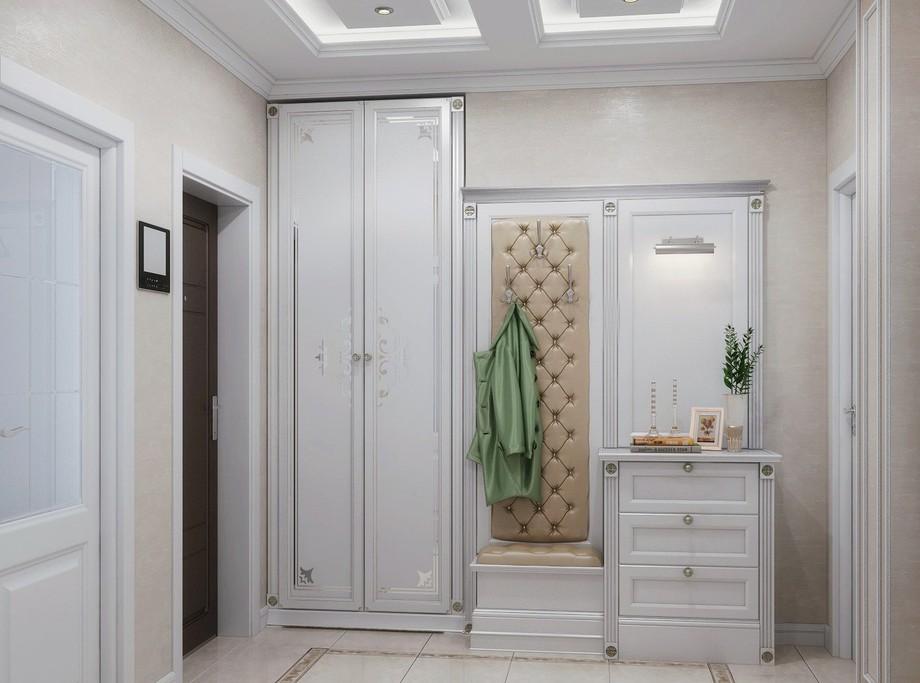 Встроенный белый шкаф в прихожей