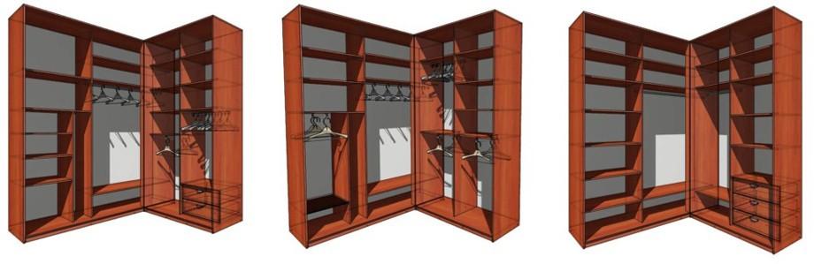 3 г-образных шкафа внутри