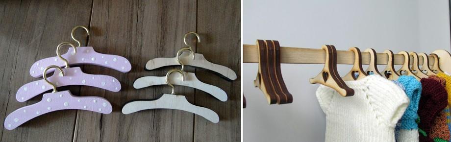 Игрушечные деревянные вешалки для кукольной одежды