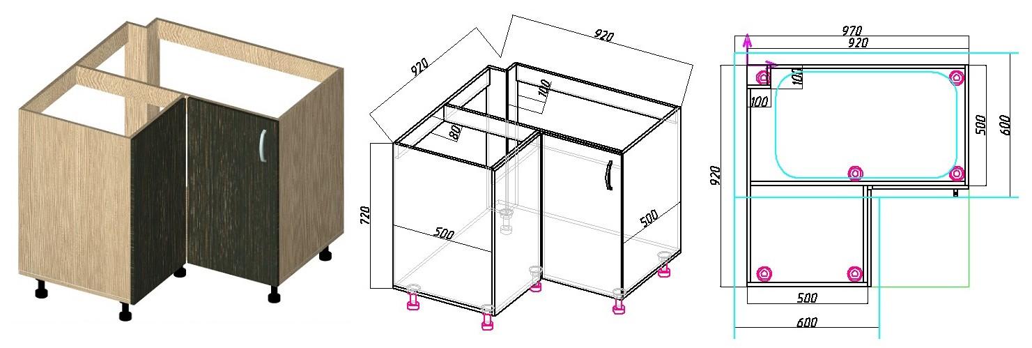Угловой кухонный шкаф под мойку – как изготовить и собрать самостоятельно?