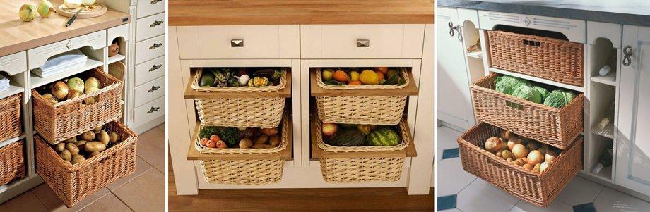 Выкатные, подвесные, поворотные корзины для кухни: как выбрать и установить